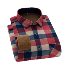 Load image into Gallery viewer, Aoliwen Brand Men's winter warm long-sleeved shirts flannel plaid shirts thickened warm and comfortable shirts large size shirts