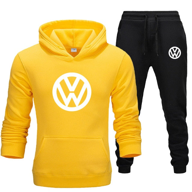 2020 Autumn And Winter Men Hoodie Suit Pullover Sweater + Pants 2 Pieces Warm Sportswear Ropa Hombre Men