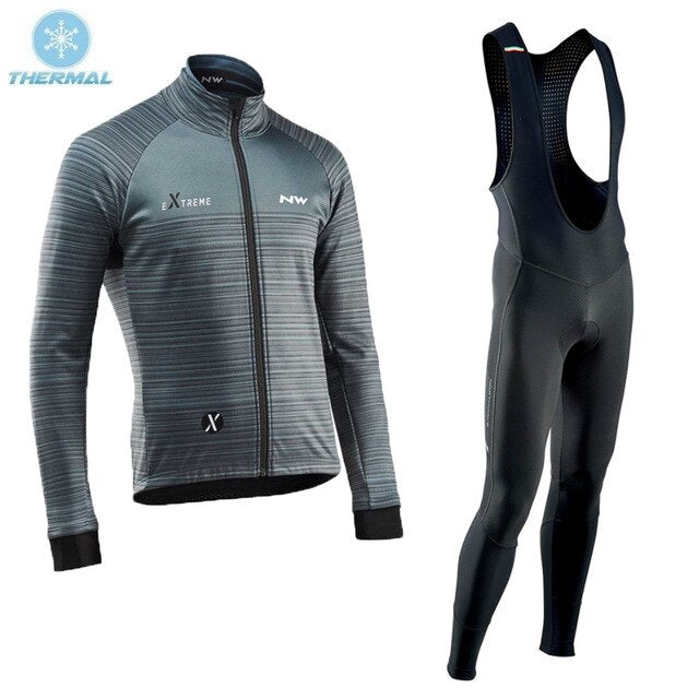 Winter Thermal Fleece Cycling Clothing Set NW Jersey Men Sport Suit Riding Bicycle MTB Clothing Bib Hot Jelly Shorts Sets