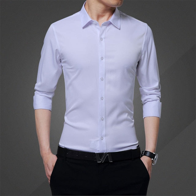New Long-sleeved Shirt Men's Summer Clothes Casual Mens Shirts Slim Cotton Tops