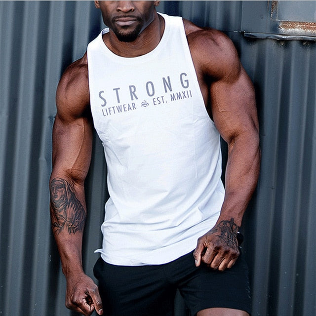 Fashionable Casual Bodybuilding Loose Solid Solid Vest Sleeveless Muscle Stringer Workout Shirt Contest Back Summer Sportswear