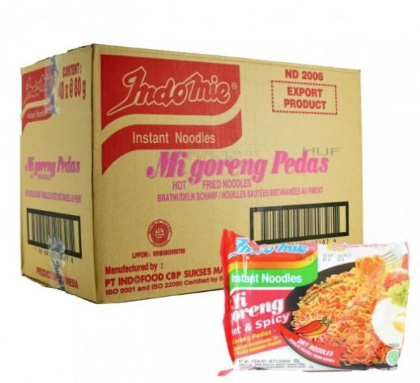 Indomie Mi Goreng Instant Noodle Hot & Spicy 80g, Case of 30