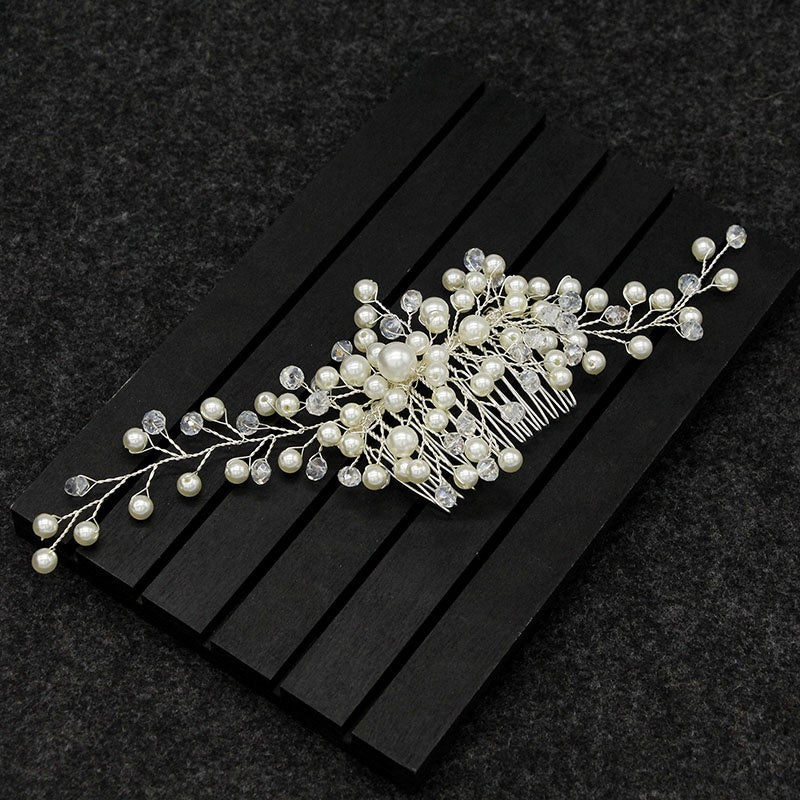 Women Bridal Crystal Faux Pearl Hair Comb Hair Piece DIY Jewelry Wedding Tiaras Accessories