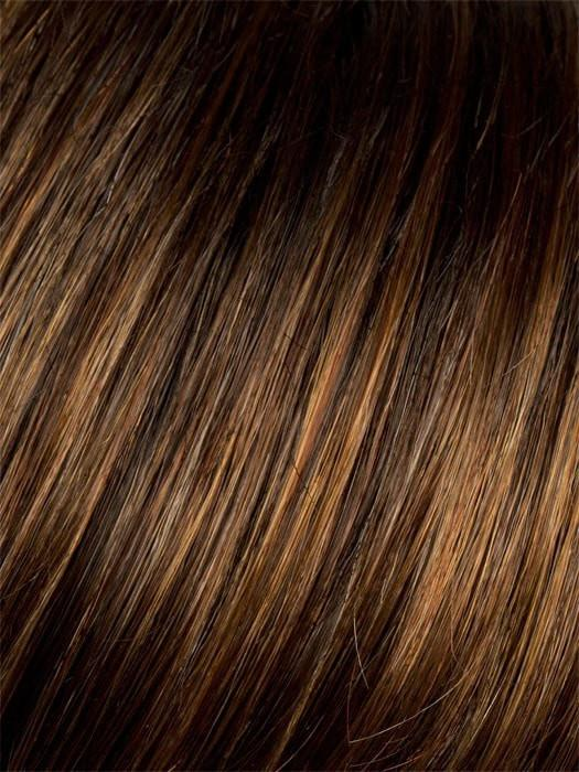 HAZELNUT-ROOTED | Medium Brown base with Medium Reddish Brown and Copper Red highlights and Dark Roots