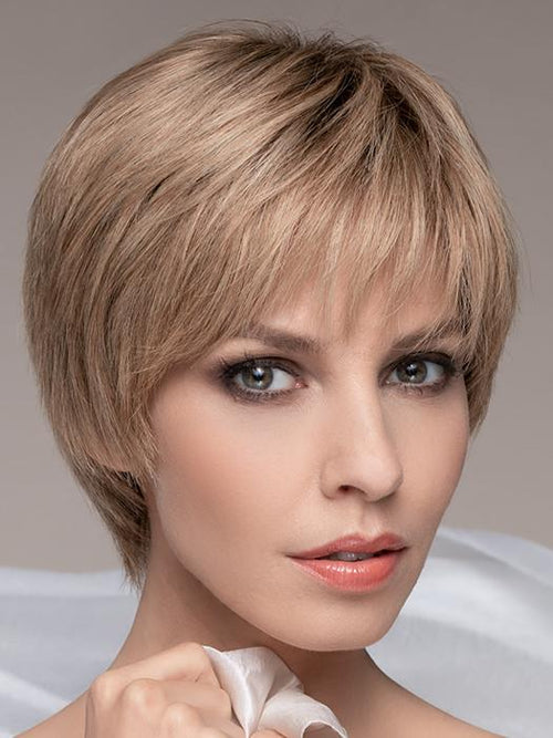 IVORY by ELLEN WILLE in SANDY-BLONDE-ROOTED | Medium Honey Blonde, Light Ash Blonde, and Lightest Reddish Brown blend with Dark Roots