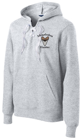 Megalodon Hunter Embroidered Lace Up Hoodie