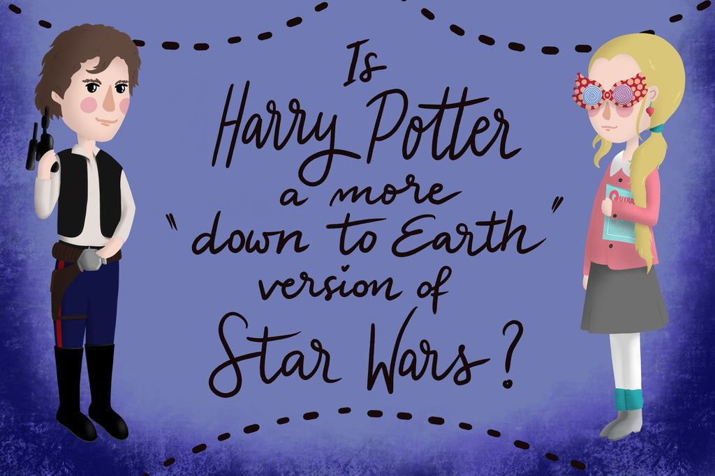 "Han Solo and Luna Lovegood on a violet background with caption ""Is Harry Potter a more 'down to Earth' version of Star Wars?"""