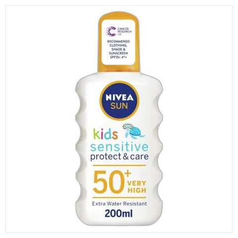 Nivea SUN Kids Sensitive Protect & Care Water Resistant Sun Spray - SPF 50+ - 200ml