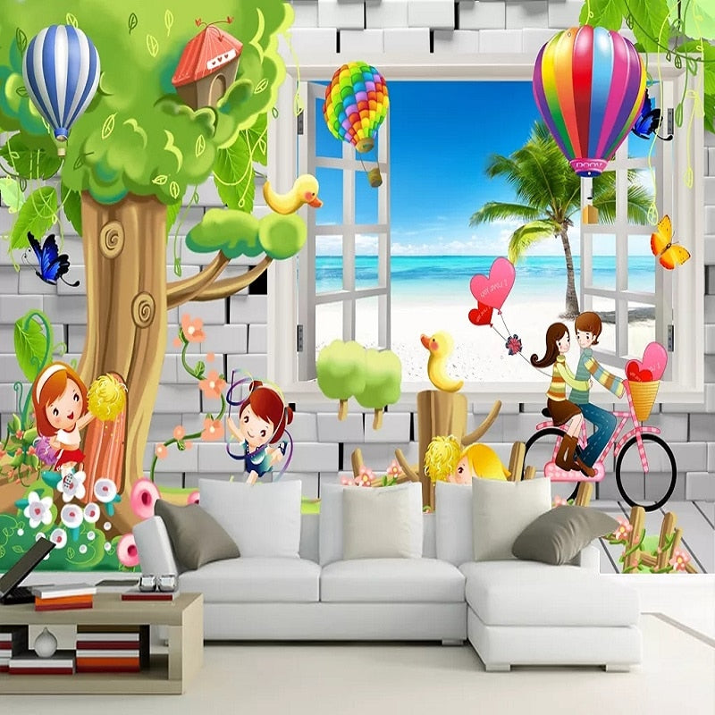 Custom large mural 3D wallpaper Fairytale world cartoon fake window bike child bedroom mural TV back wall decor deep 5D embossed