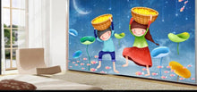 Load image into Gallery viewer, Custom large mural 3D wallpaper Nordic cartoon fish pond boy girl child bedroom mural TV back wall decor deep 5D embossed
