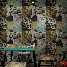 Load image into Gallery viewer, 3D Vintage personality street graffiti pattern wallpaper bar hot pot restaurant background wall barbecue shop fashion wallpaper