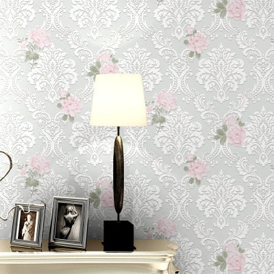 10m long European pastoral roses wallpaper 3d foam floral bedroom girls room home wall improvement wall papers pink purple rose