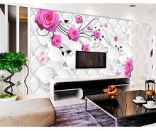 Load image into Gallery viewer, Custom large mural 3D wallpaper Modern creative 3D expansion space rose soft foreskin pattern TV back wall decor 5D embossed