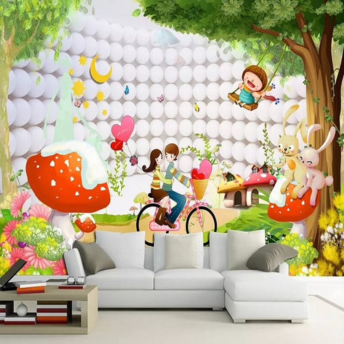 Custom large mural 3D wallpaper Nordic modern cartoon fantasy orb on white bedroom mural TV back wall decor deep 5D embossed