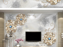 Load image into Gallery viewer, Custom large mural 3D wallpaper Modern fashion creative luxury pearl gem flower blue bedroom TV back wall decor 5D embossed