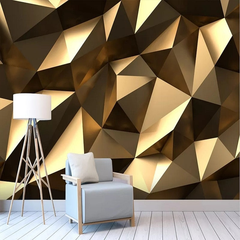 Custom large mural 3D wallpaper bedroom living Modern creative 3D expansion space golden solid geometric wall TV wall decor