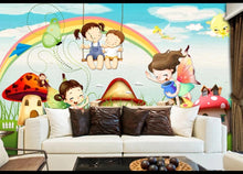 Load image into Gallery viewer, Custom large mural 3D wallpaper Nordic modern world cartoon girl boy swing bedroom mural TV back wall decor deep 5D embossed