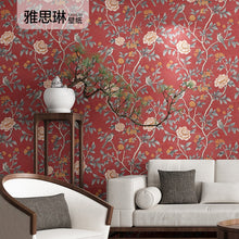 Load image into Gallery viewer, Good quality Chinese style wall paper classical pastoral flowers and birds wallpaper living room bedroom blue red dining room