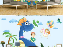Load image into Gallery viewer, Custom large mural 3D wallpaper Nordic cartoon dinosaur unicorn flying baby bedroom mural TV back wall decor deep 5D embossed