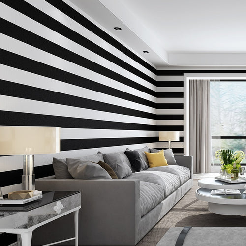 3d modern simple black and white rough strips wallpaper pvc waterproof living room bedroom TV Sofa background wall decoration