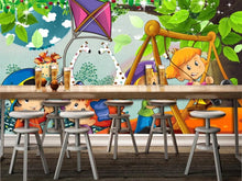 Load image into Gallery viewer, Custom large mural 3D wallpaper Cartoon animal cute giraffe swing boy child bedroom mural TV back wall decor deep 5D embossed