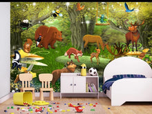 Load image into Gallery viewer, Custom large mural 3D wallpaper Cartoon animal forest world child bedroom mural TV back wall decor deep 5D embossed