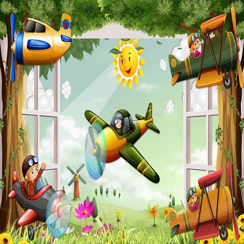 Custom large mural 3D wallpaper Cartoon world baby airplane flying child bedroom mural TV back wall decor deep 5D embossed