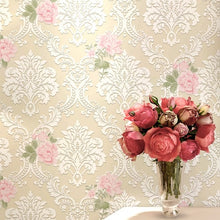 Load image into Gallery viewer, 10m long European pastoral roses wallpaper 3d foam floral bedroom girls room home wall improvement wall papers pink purple rose