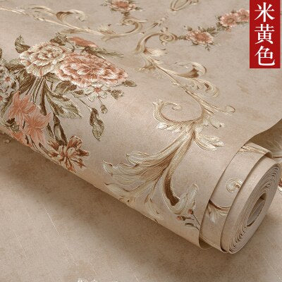 High quality American nostalgic pastoral wallpaper bedroom living room big flower finely embossed TV background wall paper thick