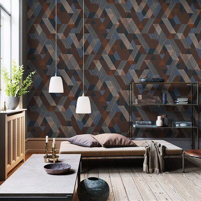 High quality nordic wallpaper modern minimalist geometric lattice home non-woven living room bedroom background wall gray black