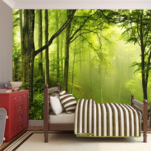 Load image into Gallery viewer, 3D custom green forest woods wallpaper landscape office wallpaper theme hotel tea shop restaurant living room bedroom background