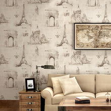Load image into Gallery viewer, American retro iron tower pattern wallpaper vintage cafe personality home decor living room wall paper PVC waterproof wallpaper