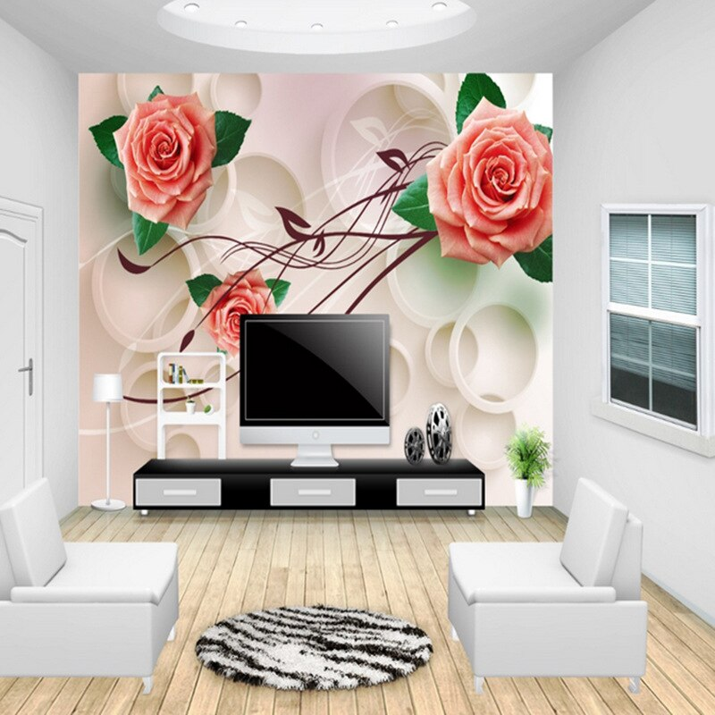 3D roses flower wallpaper non-woven eco-friendly waterproof living room sitting room bedroom TV sofa background 3d wall murals