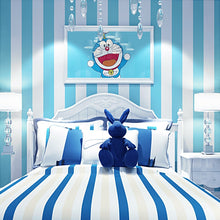 Load image into Gallery viewer, Mediterranean wallpaper non-woven living room bedroom warm children's girl room modern minimalist blue white vertical stripes