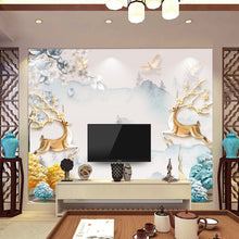 Load image into Gallery viewer, Nordic modern minimalist TV background wall paper 5d three-dimensional atmosphere living room sofa elk seamless mural