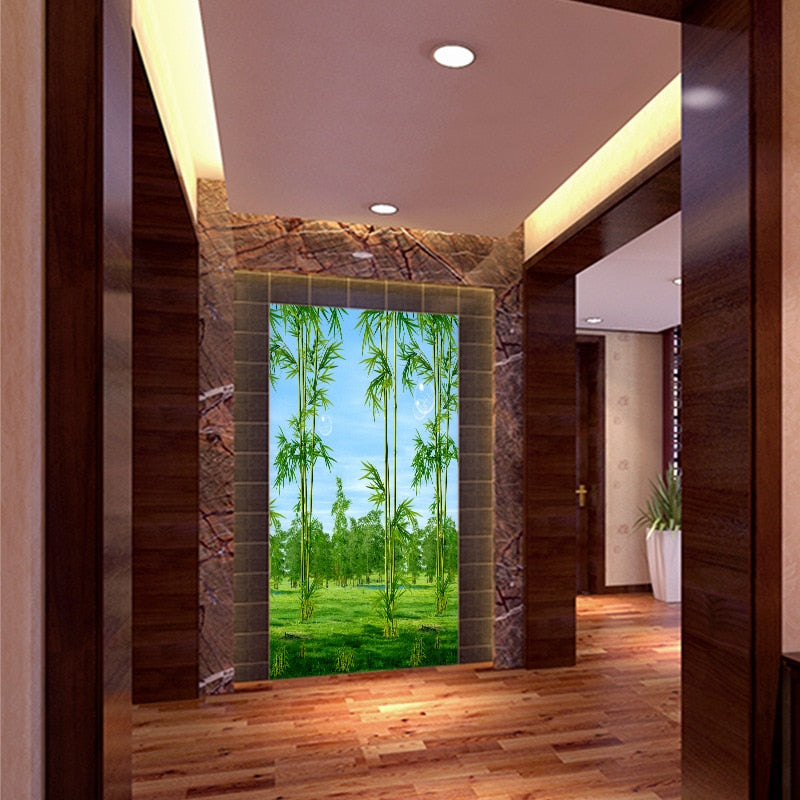 Customized 3D mural wallpaper medium-size oil painting with bamboo forest pattern as vertical background  the corridor screen