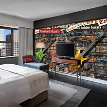Load image into Gallery viewer, 3D seamless large TV sofa mural wallpaper European and American brick stone wall electric guitar fashion personalized painting