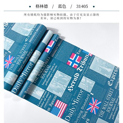 Vintage fashion shop decoration barber shop study old newspaper wallpaper personality English letter flag wall mural household