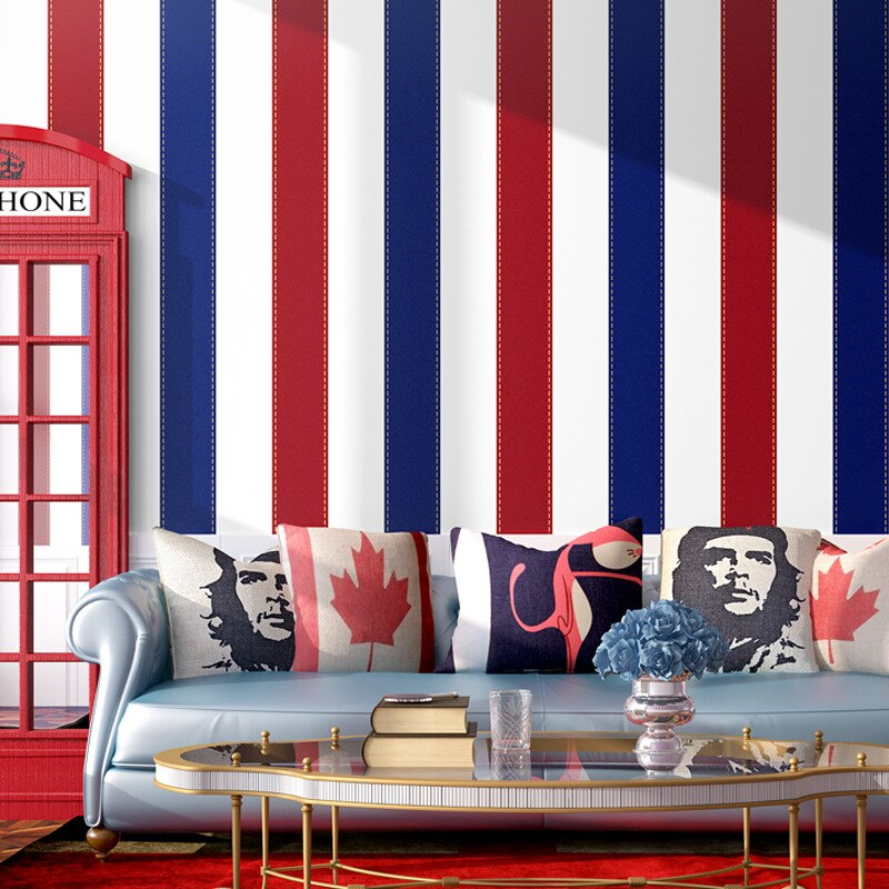 Classical wallpaper bold blue red vertical stripe Europe boys girls bedroom children room wall stripes British decor wallpaper