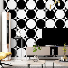 Load image into Gallery viewer, 3D visual minimalism wallpaper roll black and white circle pattern modern art home wall decoration simple fashion papel de pared