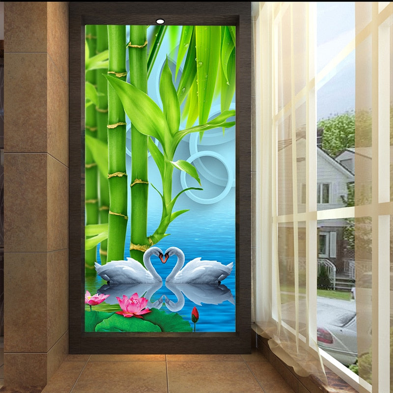 Customized 3D mural wallpaper medium-size oil painting with bamboo swan pattern as vertical background  the corridor screen