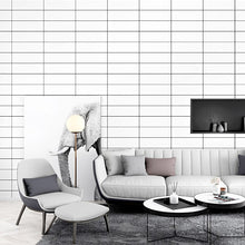 Load image into Gallery viewer, Concise stylish slim strip wallpaper ins TV background black and white grid geometry bedroom living room modern pvc wall paper