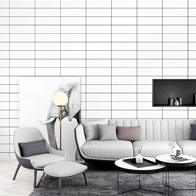 Concise stylish slim strip wallpaper ins TV background black and white grid geometry bedroom living room modern pvc wall paper