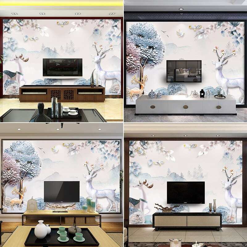 Nordic modern minimalist TV background wall paper 5d three-dimensional atmosphere living room sofa elk seamless mural