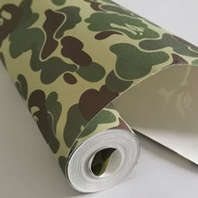 Load image into Gallery viewer, have glue Tide brand matte Japan ape pattern Camouflage college dormitory clothing store decor wallpaper bedroom hip hop Europe (1 10mx45cm)