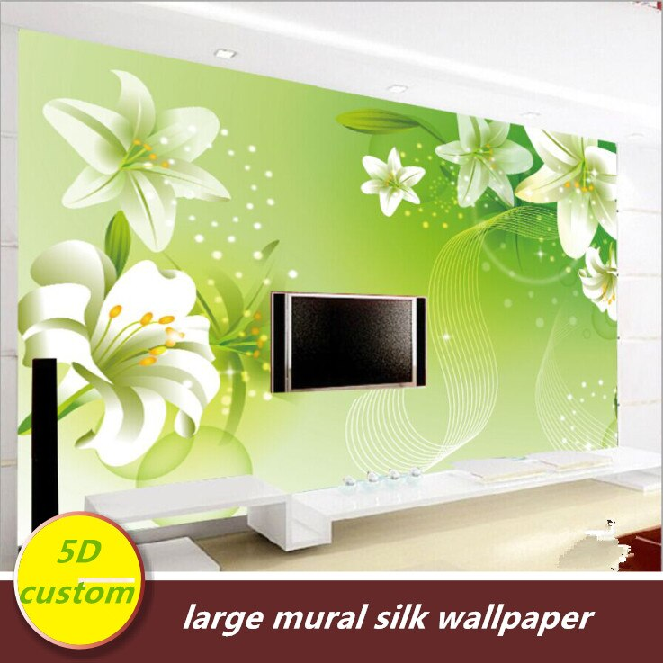 Customized 5D silk large murals wallpaper 3d TV back mural bedroom wall covering modern simple refreshing green fashion abstract