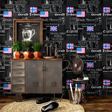 Load image into Gallery viewer, Vintage fashion shop decoration barber shop study old newspaper wallpaper personality English letter flag wall mural household
