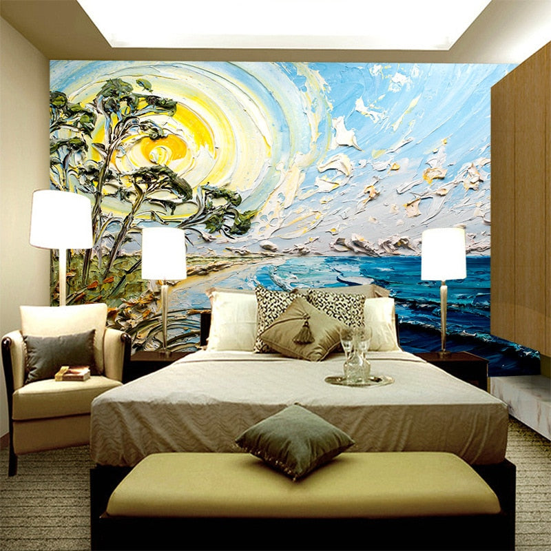 Customized 5d stereo hand-painted fantasy abstract blue sky sea oil painting wallpaper bedroom wall background mural wallpaper