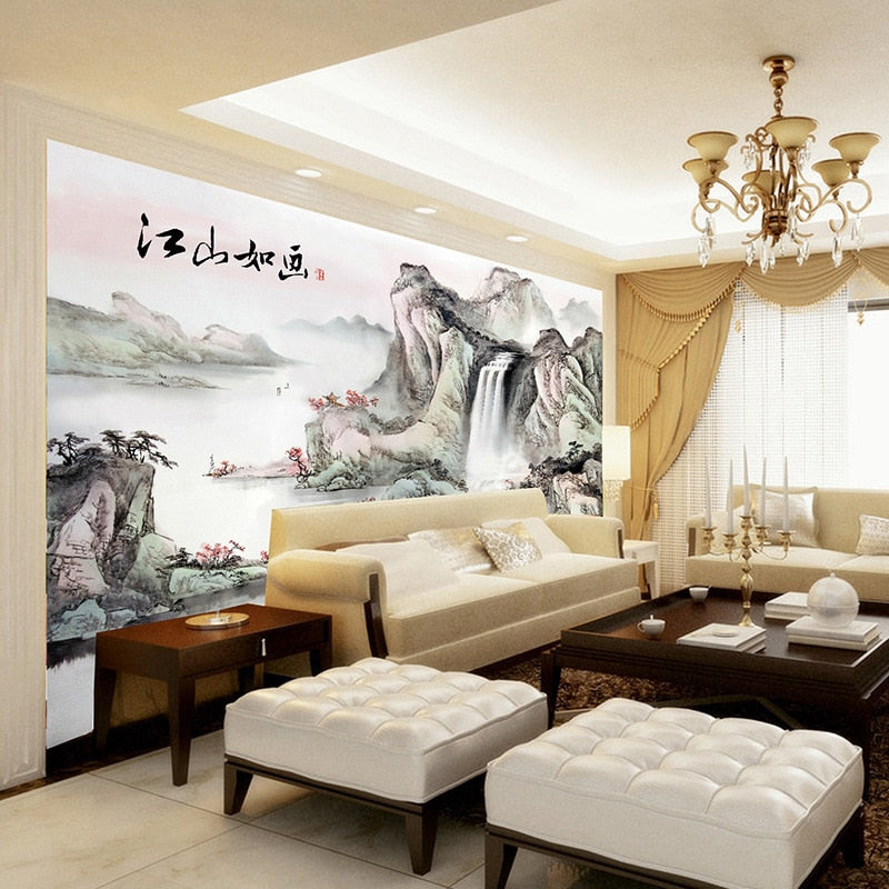 Customized mural wallpaper large 3D classic Chinese style ink painting mountain water behind TV sofa as background  in living