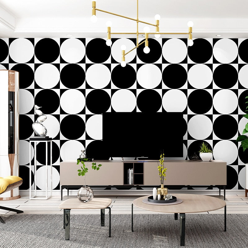 3D visual minimalism wallpaper roll black and white circle pattern modern art home wall decoration simple fashion papel de pared